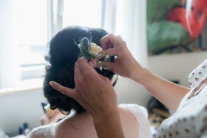 wedding, flower in hair